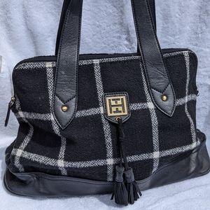 Tommy Hilfiger Plaid Wool Black & White Bag